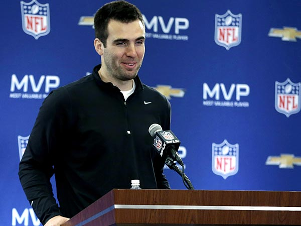 Joe Flacco speaks during a news conference after NFL Super Bowl XLVII football game Monday, Feb. 4, 2013, in New Orleans. The Ravens defeated the San Francisco 49ers 34-31.(AP Photo/Darron Cummings)