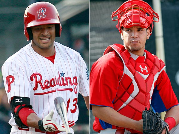 Phillies´ prospects Tyson Gillies (left) and Sebastian Valle. (Yong Kim/Staff Photos)