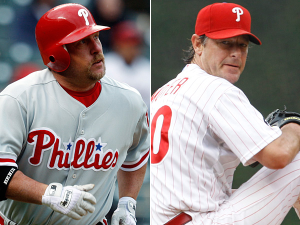 Former Phillies Matt Stairs (left) and Jamie Moyer (right). (AP file photos)