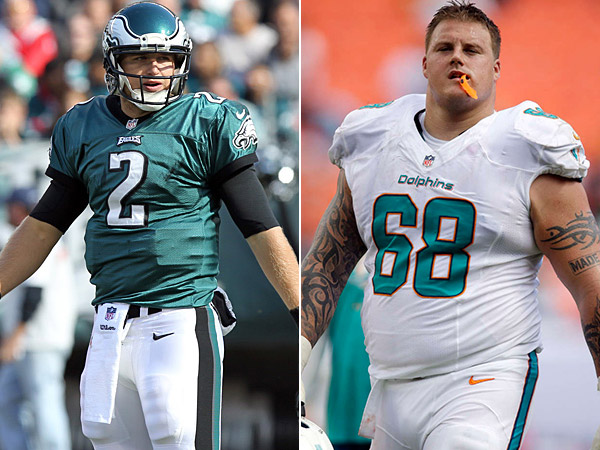 Eagles quarterback Matt Barkley and Dolphins lineman Richie Incognito. (Staff/AP Photos)