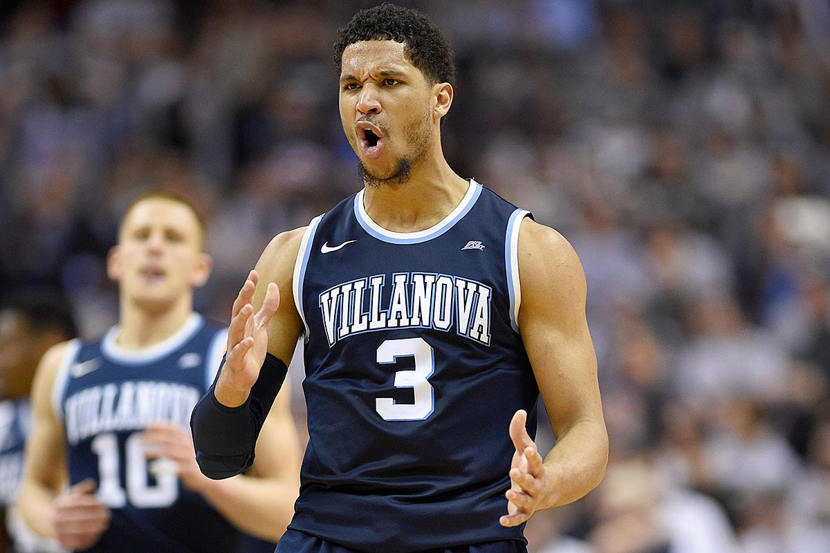Villanova guard Josh Hart (3) reacts after he hit a three-pointer during the second half of an NCAA college basketball game against the Georgetown, Saturday, March 4, 2017, in Washington. Villanova won 81-55.