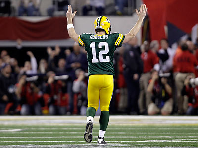 Packers quarterback Aaron Rodgers has thrown three touchdown passes so far in the Super Bowl. (Eric Gay/AP)