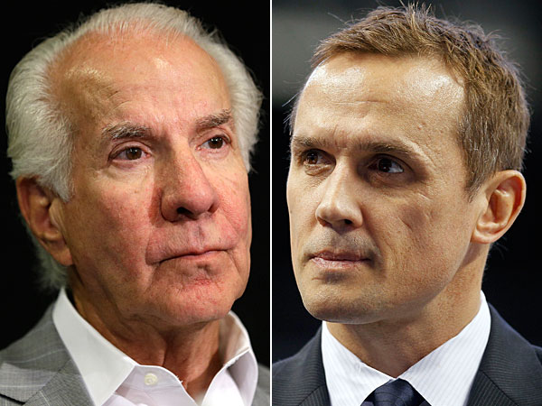 Ed Snider (left) and Lightning general manager Steve Yzerman. (Matt Rourke/AP file) )(Chris O´Meara/AP file)