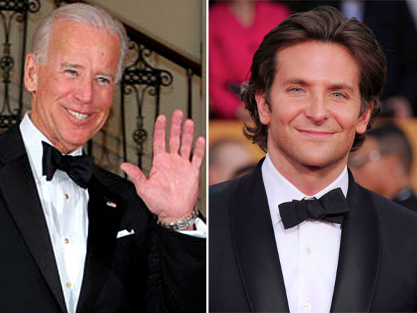 They even dress alike! Joe Biden, left, and Bradley Cooper. (AP Photos)