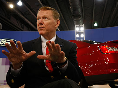 Alan Mulally, president and CEO of Ford Motor CO., spoke at a private meeting of regional Ford dealers last week at the Phila. Auto Show. (MICHAEL S. WIRTZ / Staff Photographer)