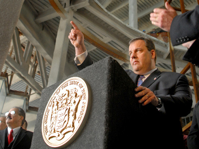 In the unfinished lobby of the stalled Revel Casino on the Boardwalk in Atlantic City, Gov. Christie announced his plan to get the work completed and revive the struggling town. (Tom Gralish / Staff Photographer)