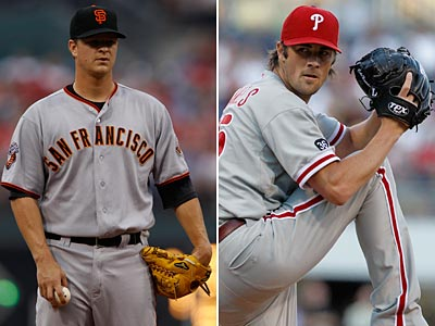 Giants starter Matt Cain and Cole Hamels are set to become free agents after this season. (AP Photos)