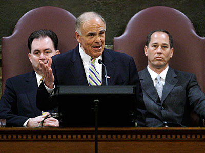 Among the projects Gov. Rendell wants to fund are two to honor some of the state´s once-leading Democratic powerbrokers - the late Rep. John Murtha and outgoing Sen. Arlen Specter.  (AP Photo / Carolyn Kaster)