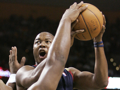 Former Sixer Eric Snow joins the Sixers broadcast team. (AP Photo/Winslow Townson)