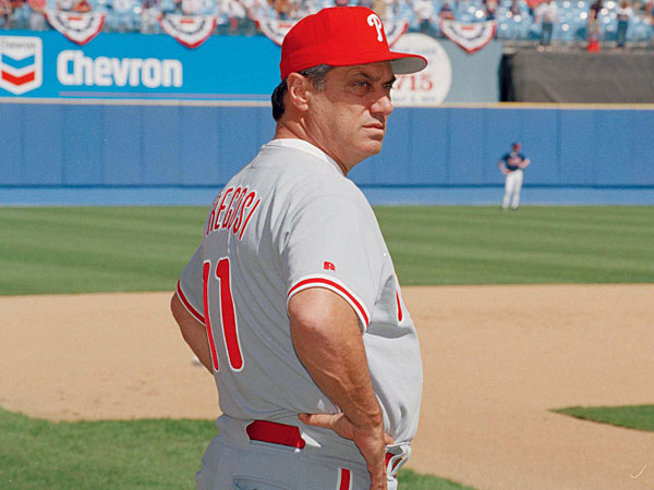 Former Phillies manger Jim Fregosi watches during batting practice Saturday, Oct. 9, 1993 before the start of game 3 of the NLCS at Atlanta Fulton County Stadium, Atlanta, Ga. (Ed Reinke/AP file)
