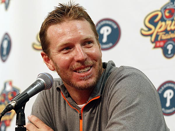 Phillies pitcher Roy Halladay smiles while meeting with members of<br />the media after spring training workouts in Clearwater, Florida on Wednesday, February 13, 2013. (Yong Kim/Staff Photographer)