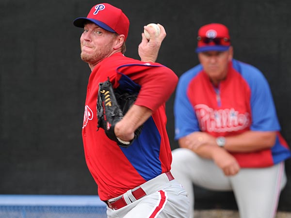 Phillies pitcher Roy Halladay throws during spring training in Clearwater, Florida on Wednesday, February 13, 2013. (Clem Murray/Staff Photographer)