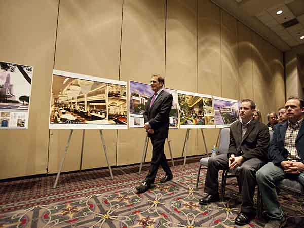 Six groups , including those headed by Steve Wynn and Bart Blatstein appeared before the PA Gaming Control Board today lobbying for the second city gaming license. Here, Bart Blatstein delivers his presentation.   ( ED HILLE / Staff Photographer )