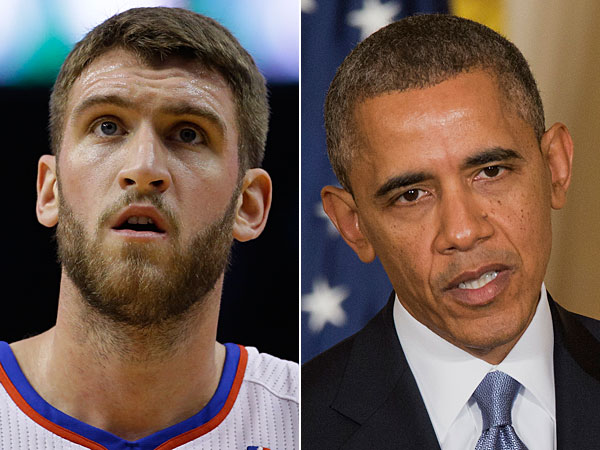 Spencer Hawes and Barack Obama. (Matt Slocum/AP) (J. Scott Applewhite/AP)