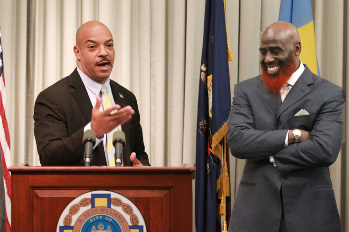 Philadelphia District Attorney R. Seth Williams, left, named Tariq El-Shabazz, right, to be the Philadelphia District Attorney's Office's Deputy for Investigations and First Assistant District Attorney last year. El-Shabazz is now running to be DA.