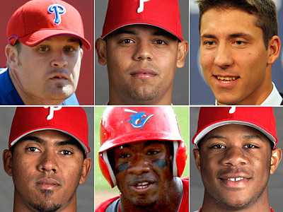 Top Phillies prospects (clockwise from top left) Andrew Carpenter, Sergio Escalona, Phillippe Aumont, Anthony Hewitt, Domonic Brown and Antonio Bastardo.