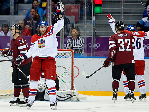 Czech Republic forward Jakub Voracek reacts after a second period goal against Latvia. (AP Photo/Mark Humphrey)