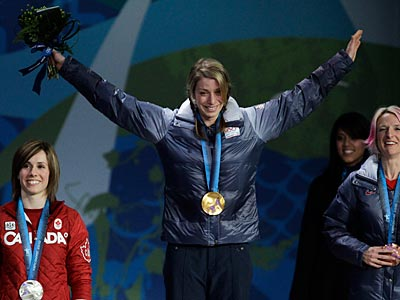 Skier Hannah Kearney won the first gold medal for the U.S. at the 2010 Winter Olympics in Vancouver. (AP Photo/Marcio Sanchez)
