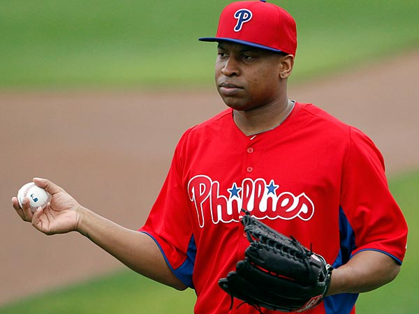 Phillies&acute; outfielder Delmon Young holds the baseball during spring<br />training. (Yong Kim/Staff Photographer)
