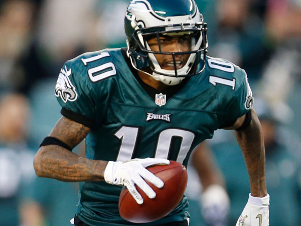 DeSean Jackson runs with the ball after making a catch in the first half of an NFL football game against the Dallas Cowboys, Sunday, Nov. 11, 2012, in Philadelphia. (Julio Cortez/AP file)