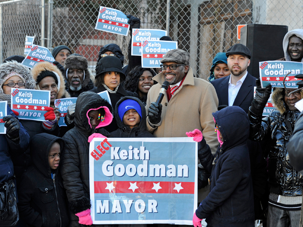 Keith Goodman, senior pastor at Seventh-Day Adventist Church in North Philadelphia, announces his candidacy for mayor outside his church, Feb. 15, 2015. (TOM GRALISH/Staff Photographer)