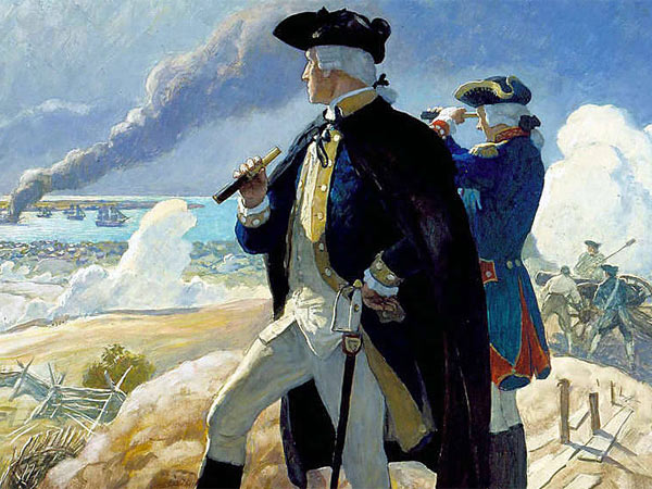 "N.C. Wyeth, ""George Washington at Yorktown,"" oil on hardboard, 1938-39."