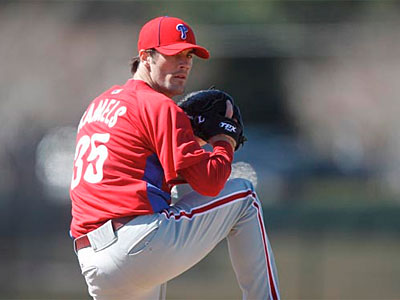 Cole Hamels partakes in field exercises at Bright House Field in Clearwater, Fla. ( David Swanson / Staff Photographer )