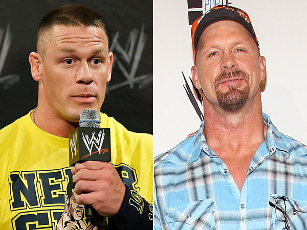 John Cena and Steve Austin. (Mel Evans/AP file) (Photo by Paul A. Hebert/Invision/AP)