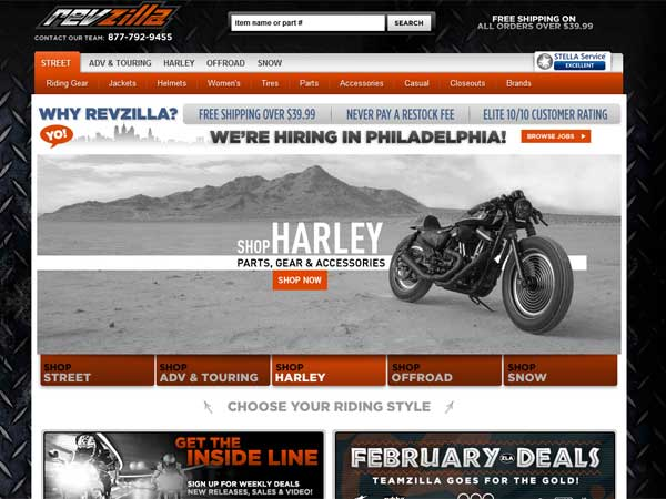 A screen grab from Revzilla´s web site.