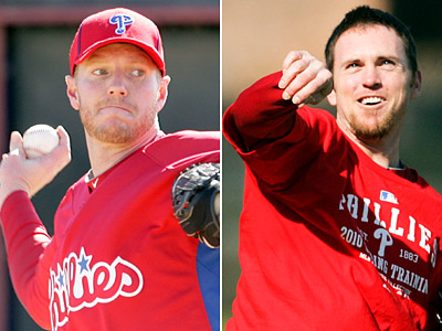 Phillies pitchers Roy Halladay (left) and Brad Lidge have a history that dates back to Little League. (Yong Kim / Staff Photographer)