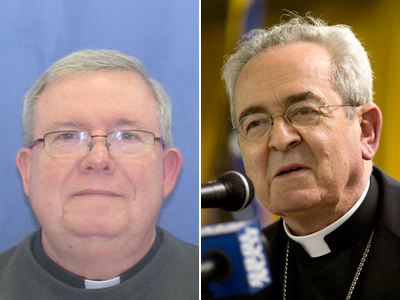 Msgr. William J. Lynn (left), indicted recently in a sexual abuse scandal, has been placed on administrative leave by Cardinal Justin Rigali (right). (File Photos)