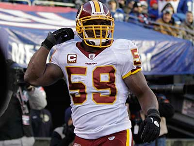 Veteran linebacker London Fletcher is scheduled to be a free agent. (AP Photo / Kathy Willens)