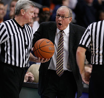 Jim Boeheim getting warmed up for his postgame press conference. (Ron Cortes/Staff Photographer)