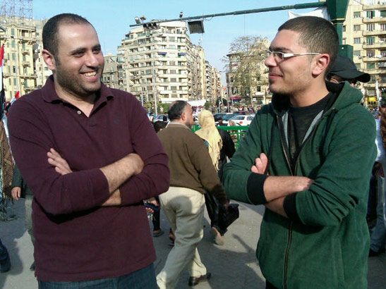 They may be smiling but Sherif and Mahmoud disagree deeply on what the revolution needs next. (INQUIRER / Trudy Rubin)