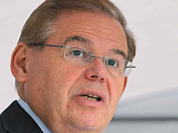 FILE  In a file photo made Thursday, Sept. 27, 2012, U.S. Sen. Robert Menendez, D-NJ, speaks in Sayreville, N.J. On Wednesday, Oct. 10, 2012, New Jersey´s two major-party U.S. Senate candidates are set to meet in a debate. Menendez and Republican state Sen. Joe Kyrillos are scheduled to answer questions on radio station New Jersey 101.5 FM at 7 p.m. Wednesday. (AP Photo/Mel Evans,file)