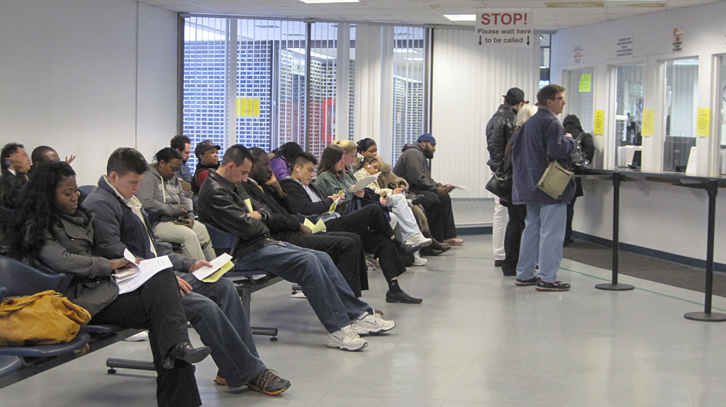 The waiting room for parking ticket hearings is no party. (Juliana Reyes / Staff)