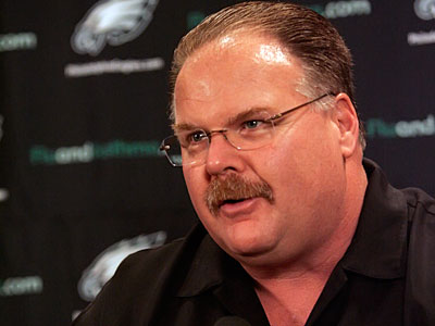 Andy Reid talked to a local radio station about Donovan McNabb, Julius Peppers, and free agency. (Michael Bryant / Staff Photographer)<br /><br />
