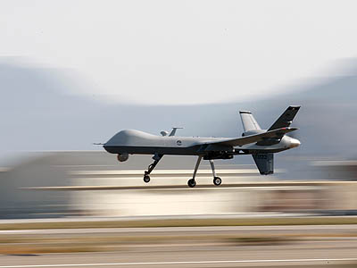 A Reaper drone aircraft lands during a training program at Creech Air Force Base in Nevada. (Rick Loomis/Los Angeles Times/MCT)