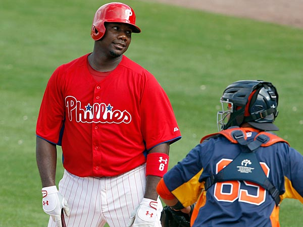 Phillies&acute; first baseman Ryan Howard reacts after striking out looking<br />in the sixth-inning against Houston Astros&acute; catcher Rene Garcia during<br />a spring training exhibition game  in Clearwater, FL on Saturday,<br />February 23, 2013.  (Yong Kim / Staff Photographer)