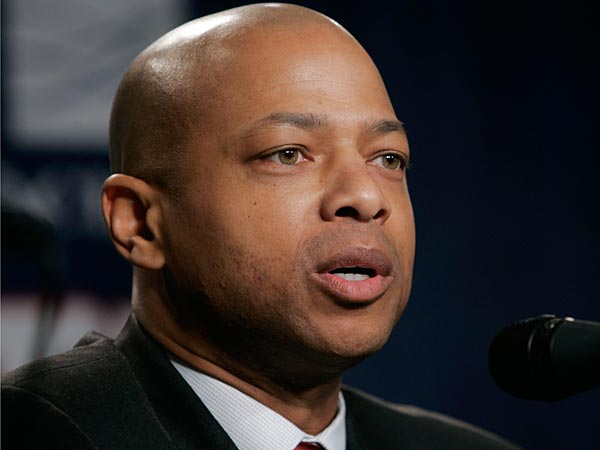 Jerry Reese speaks during a news conference where he was named the new general manager of the New York Giants, making him only the third black GM in NFL history, Tuesday, Jan. 16, 2007 in East Rutherford, N.J.. (AP Photo/Frank Franklin II)
