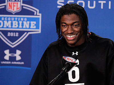 Robert Griffin III met with the Eagles while at the NFL Scouting Combine in Indianapolis. (AP Photo/Michael Conroy)