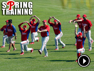 Phillies players warm-up during spring training at Bright House Field in Clearwater. (Yong Kim/Staff Photographer)
