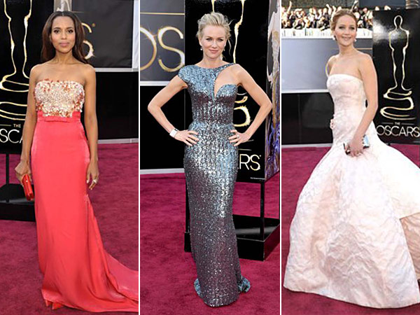 Kerry Washington, Naomi Watts and Jennifer Lawrence strut their stuff on the 85th Academy Awards red carpet. What do you think of their looks? (AP Photos)