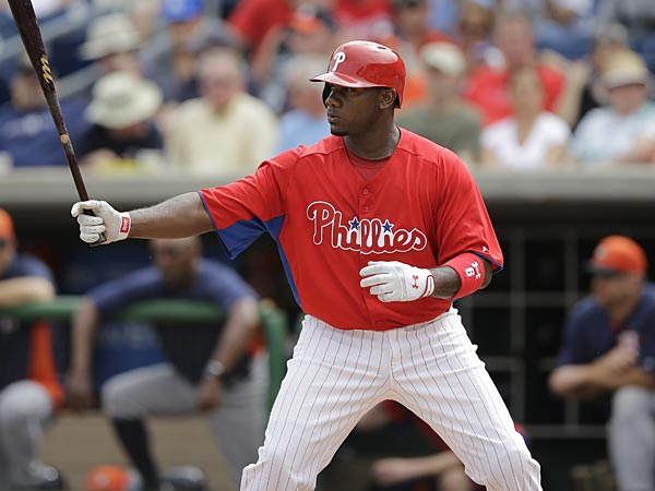 Philadelphia Phillies Ryan Howard in action during an exhibition spring training baseball game against the Houston Astros, Saturday, Feb. 23, 2013, in Clearwater, in Fla. Houston won 8-3. (AP Photo/Matt Slocum)