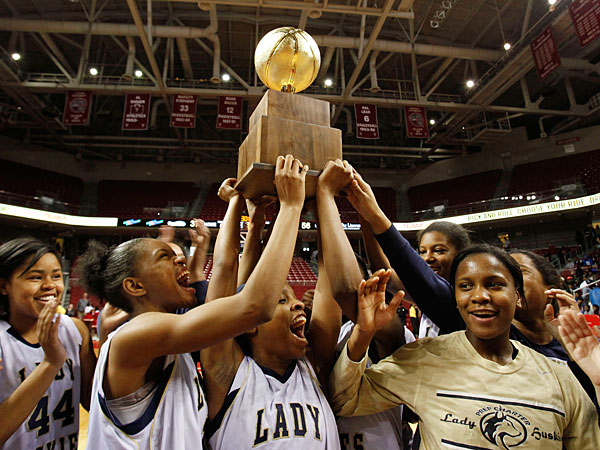 Prep Charter celebrates their championship. Prep Charter&acute;s Prep<br />Charter plays Central in the Public League girls&acute; basketball<br />championship at Temple&acute;s Liacouras Center on February 24, 2013.<br />Charter wins, 56-37. (Michael S. Wirtz/Staff Photographer).