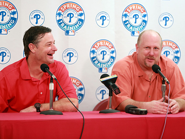 Phillies broadcast announcers Jamie Moyer (left) and Matt Stairs (right). (David Swanson/Staff Photographer)