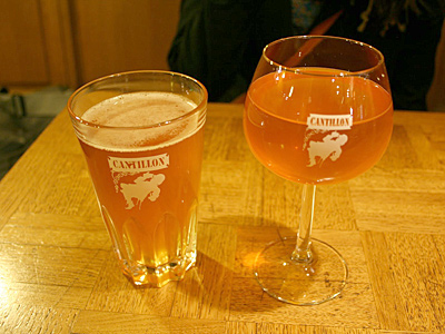 Among brews the Philly contingent tasted overseas: Cantillon Gueuze<br />(left) and a straight unblended lambic.