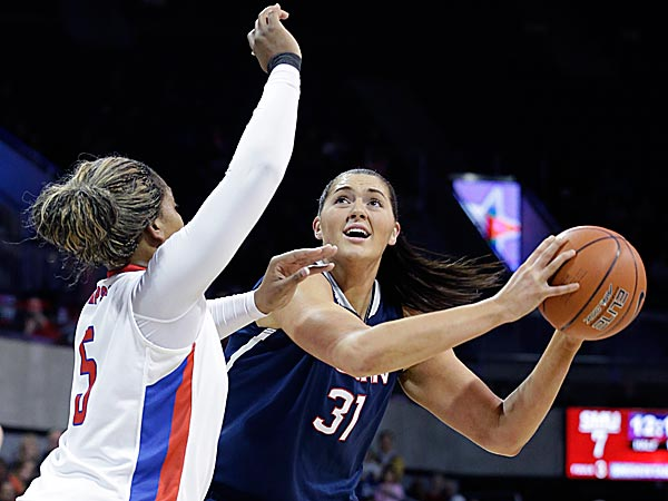 Connecticut center Stefanie Dolson looks to shoot against SMU forward Akil Simpson. (LM Otero/AP)