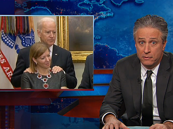 """Jon Stewart shows a clip of new Secretary of Defense Ashton Carter´s swearing in ceremony on """"The Daily Show with Jon Stewart."""""""