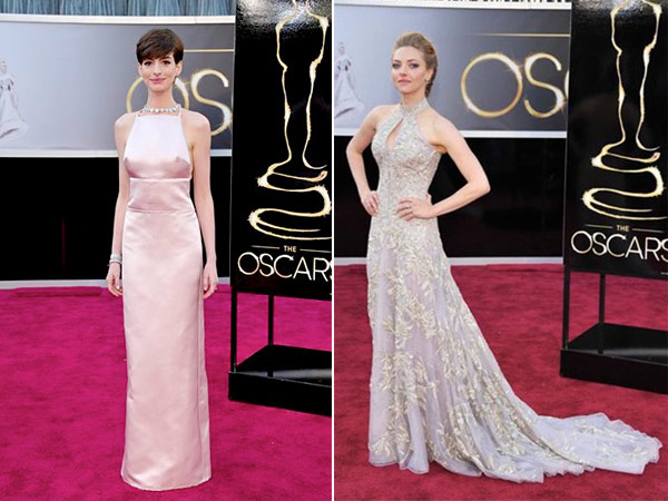 "Anne Hathaway in Prada, left, saw Amanda Seyfried´s Alexander McQueen gown and reportedly ""freaked."" (AP Photos)"